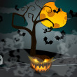 Halloween illustration with Jack O'Lantern — Image vectorielle