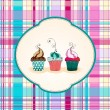 Cute cupcakes illustration — Imagen vectorial