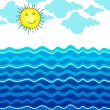 Cute ocean illustration with Sun — Stock Vector