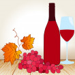 Wine, glass and grape on the table — Stock Vector