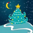 Cute Christmas greeting card — Imagen vectorial