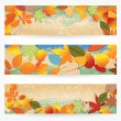 Stock Vector: Colorful autumn leaves banners