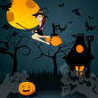 Cute Halloween witch with black cat flying in front of a full Mo — Stock Vector