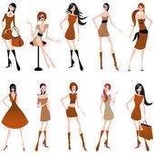 Beautiful autumn girls — Stock Vector