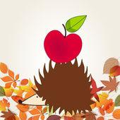 Cute hedgehog with apple — Stock Vector