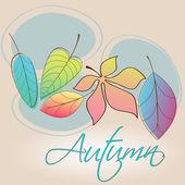 Seamless cute autumn leaves illustration — Stock Vector