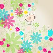 Cute spring bird illustration — Stock Vector