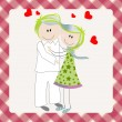 Stock Vector: Cute couple in love