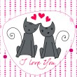 Cute cats in love — Stock Vector #39231591