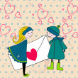 Vector de stock : Cute couple in love