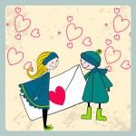 linda pareja en el amor — Vector de stock