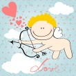 Stock Vector: Cute Valentine's Day card with Cupid