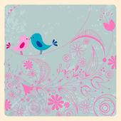 Cute birds in love illustration — Stock Vector