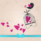 Cute bird in love illustration — Stock Vector