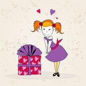 かわいいバレンタインの日カード — ストックベクタ