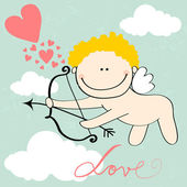Cute Valentine's Day card with Cupid — Stok Vektör