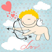 Cute Valentine's Day card with Cupid — Vector de stock
