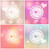 Set of glittering Valentine's Day backgrounds — Stock Vector