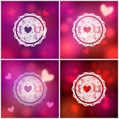 Set of glittering Valentine's Day backgrounds — Vecteur