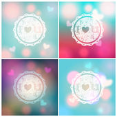 Set of glittering Valentine's Day backgrounds — Vector de stock