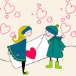 Cute couplewith a Valentine — Stock Vector #8427481