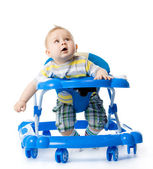 Little baby in the baby walker. — Foto Stock