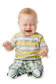 Ağlayan bebek çocuk üzerinde beyaz izole — Stok fotoğraf