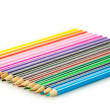 Foto de Stock  : Colour pencils isolated on white background. Many different col