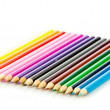 Colour pencils isolated on white background. Many different col — Εικόνα Αρχείου #21409849