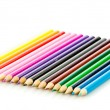 Colour pencils isolated on white background. Many different col — 图库照片 #21409849
