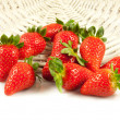 Strawberries with leaves. Isolated on a white background.  — Stock Photo