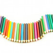 Colour pencils isolated on white background. Many different col — 图库照片