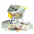 Shopping cart full of pills isolated on white. Shopping cart wit — Stock Photo