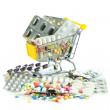 Shopping cart full of pills isolated on white. Shopping cart wit — Stock Photo #21622585