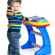 Little boy and the keyboard on white background. funny boy baby. — Stock Photo