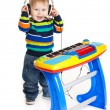 Little boy and the keyboard on white background. funny boy baby. — Stock Photo #22509849