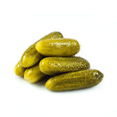 Pickled cucumbers. Gherkins on a white background — Stock Photo