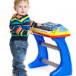 Little boy and the keyboard on white background. funny boy baby. — Stock Photo #22929814