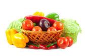 Fresh vegetables in basket isolated on white. Bio Vegetable. Co — Stock Photo