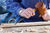 Gouge wood chisel carpenter tool. Work Of Artist. — Stock Photo
