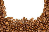 Coffee Border. brown coffee beans isolated on white background. — Stock Photo