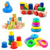 子供のおもちゃ。白い背景で隔離のおもちゃコレクション — ストック写真