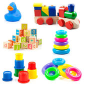 çocuk oyuncakları. beyaz arka plan üzerinde izole oyuncak koleksiyonu — Stok fotoğraf
