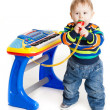 Little boy and the keyboard on white background. funny boy baby. — Stock fotografie #24867385