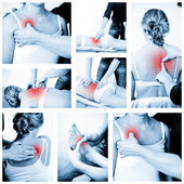マッサージセラピストは、マッサージを与えます。女性の受信プロフェッショナル — ストック写真