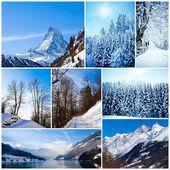 冬のコラージュ。マウントと寒い気候の風景のコレクション — ストック写真