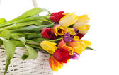 Basket of Tulips isolated on white background. Bouquet of tuli — Stock Photo
