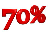 70 percent in red letters on a white background — Stock Photo