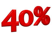 40 percent in red letters on a white background — Stock Photo