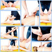 Massage collage. Massage therapist giving a massage. — Stock Photo